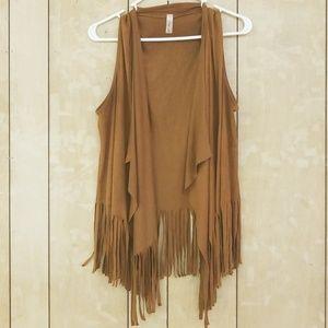 First Look Usa Boho Fringe Brown Vest